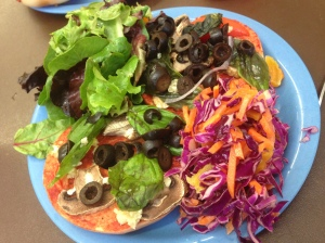 Pizza bagels and salad for lunch
